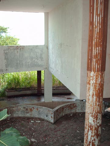 Split level, looking down into main living room area, Manuel Noriega's House at Decameron Beach, Panama