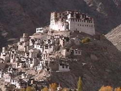 Ladakh, village houses around a Buddhist monastery