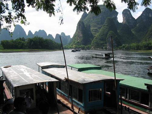 Tourist boats at Xingping Wharf, Li River near Yangshuo