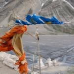Prayer flags on rooftop of Rangdum Monastery