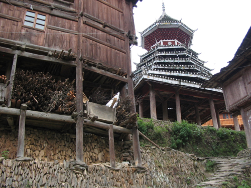 Large house sited on a steep hilside, Zhaoxing village area
