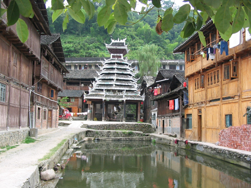 Drum tower and an ecological village pond, Zhaoxing