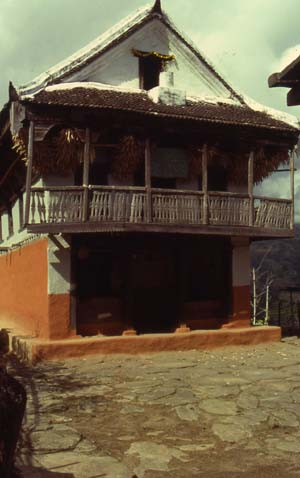 Characteristic front elevation of the Limbu house