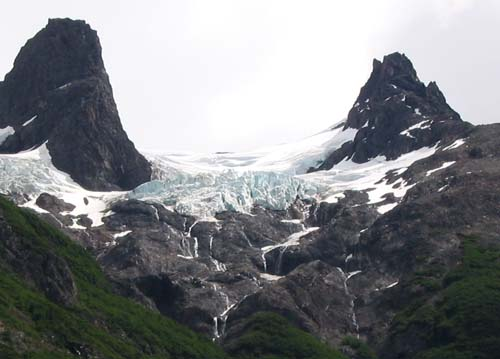 Hanging glaciers in Torres del Paine