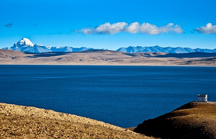 mount kailash view from maansarover lake tibet china