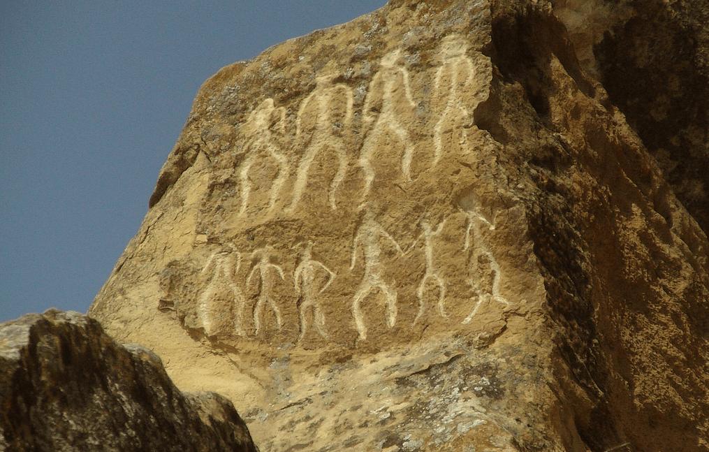 Rock engraving in gobustan national park baku Azerbaijan