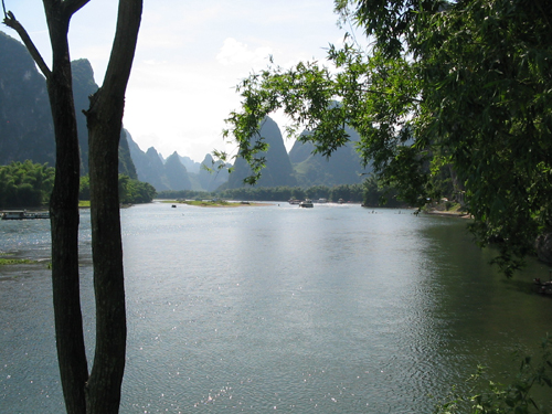 Early evening on Li River, a rare moment of silent river without boats.