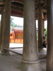 Resting under a drum tower, Zaoxing