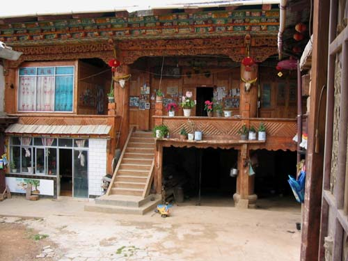 Traditional Tibetan house with contemporary windows