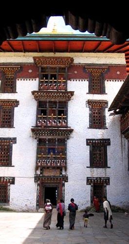 Characteristic Bhutanese window and balcony design