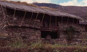 Stone and bamboo matting house of Lhomi Tibetans