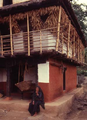 Characteristic house type of the Limbus with bamboo balcony