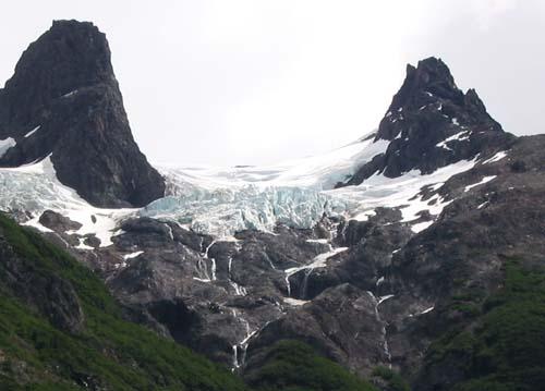 Hanging glaciers in Torres del Paine