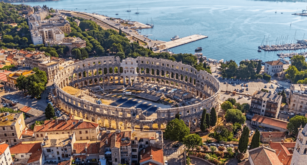 View of Pula City in Istrian Peninsula Croatia