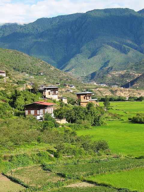 Bhutan countryside with typical house architecture