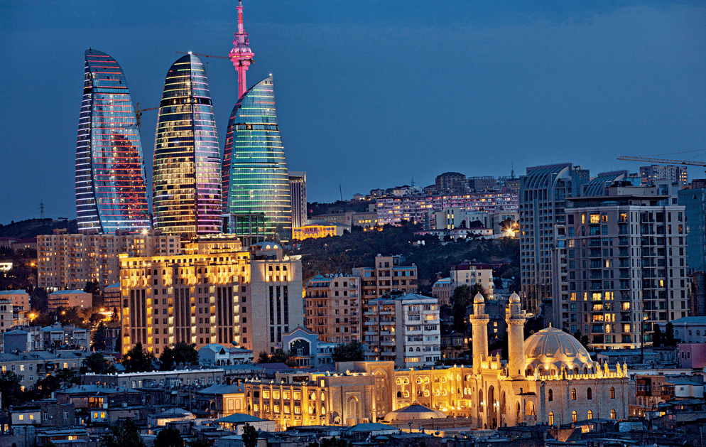 Baku Flame towers and old city