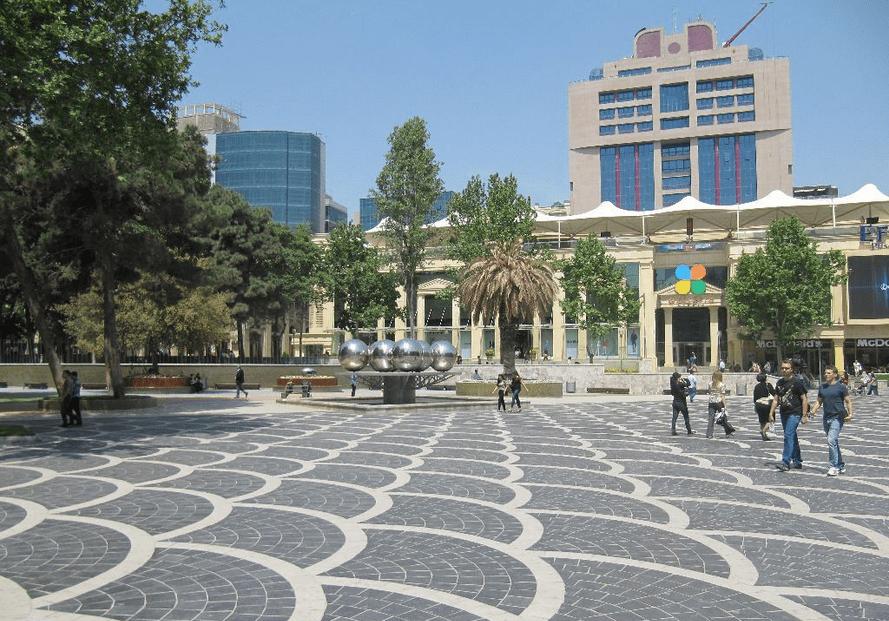 Fountain square Baku Caspian Sea