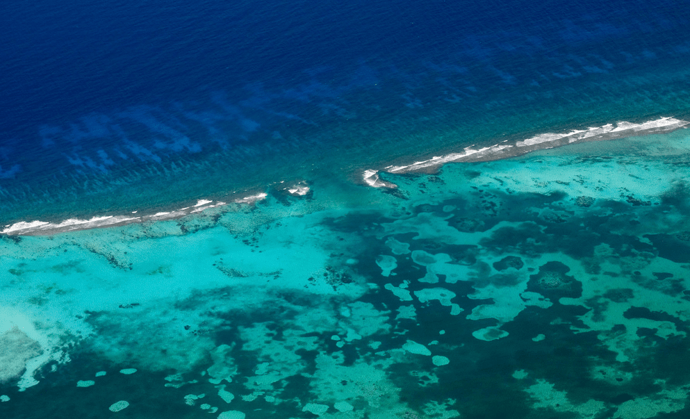 Ariel view of Cayman Islands Coral Reef