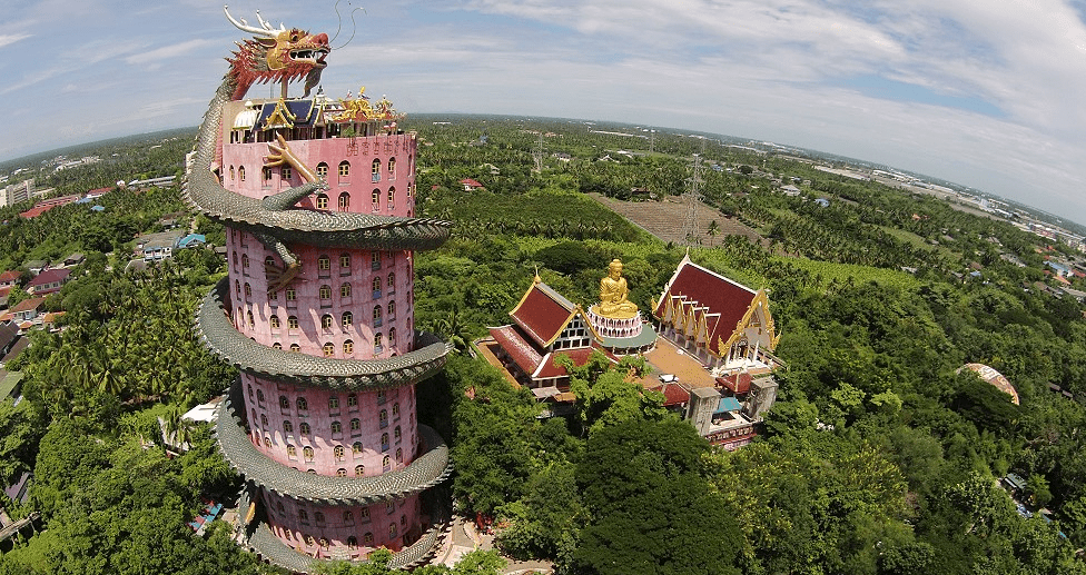Giant Dragon Tower at Wat Samphran